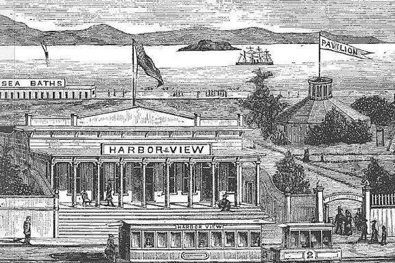 "An illustration of the Harbor View resort on San Francisco's Strawberry Island, taken from the 1884 book ""Health Seekers, Tourists and Sportsmen's Guide to the Seashore."""
