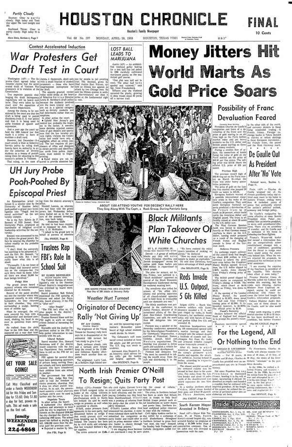 April 28, 1969 Photo: Houston Chronicle
