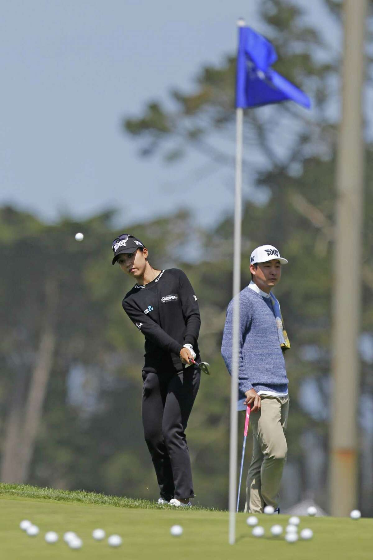 Lydia Ko practices at Lake Merced Golf Club on Wednesday, May 1, 2019, in San Francisco, Calif.
