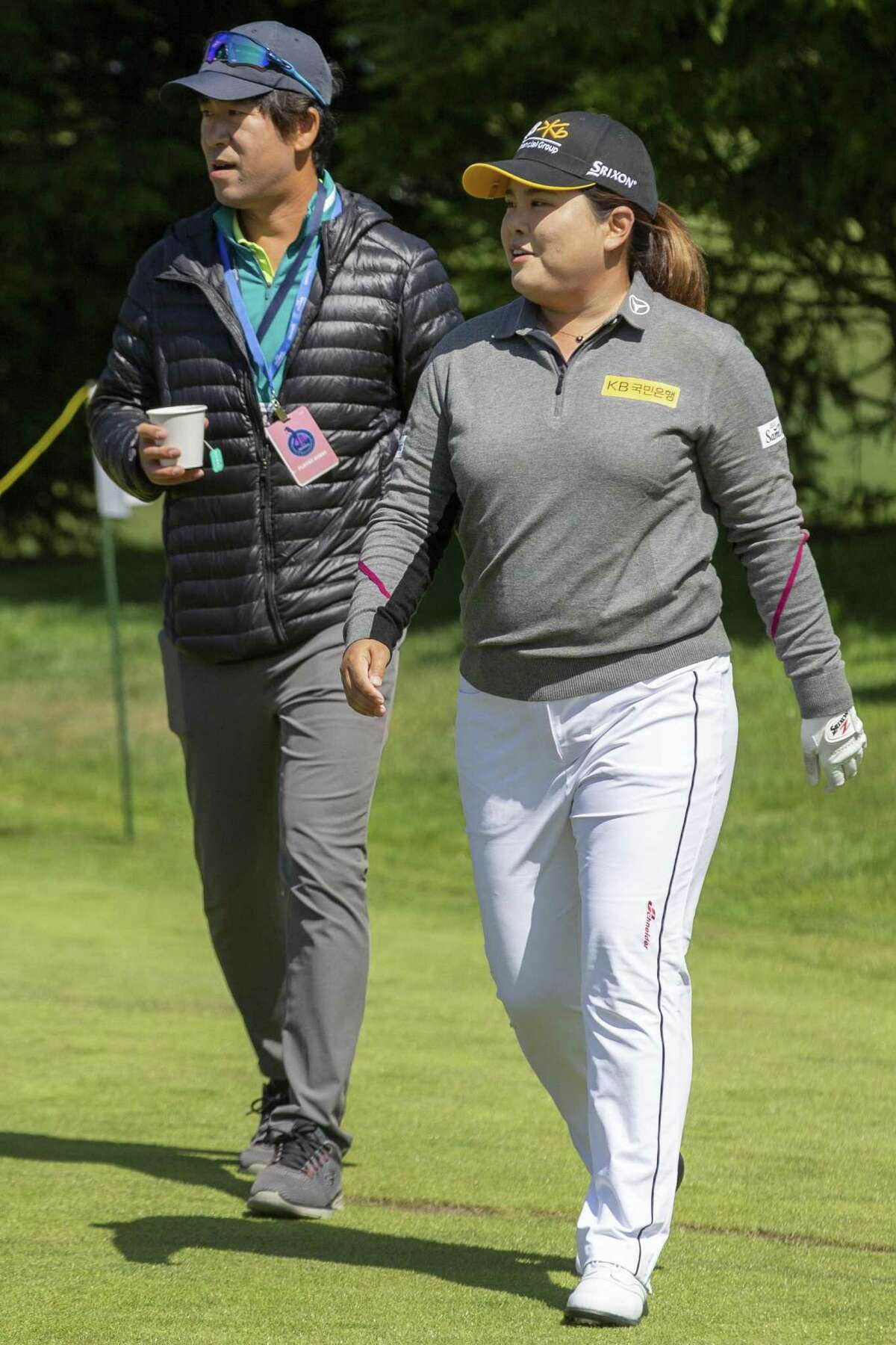 Inbee Park on the driving range at Lake Merced Golf Club on Wednesday, May 1, 2019, in San Francisco, Calif.