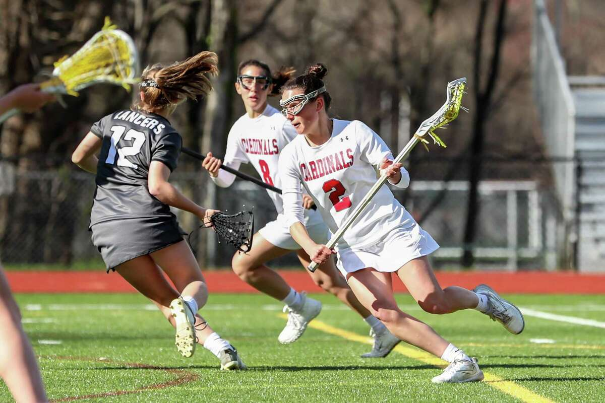 Paige Finneran (2) of Greenwich drives towards the net during a game between Greenwich Girls Varsity Lacrosse and Longmeadow Girls Varsity Lacrosse on April 15, 2019 at Greenwich High School in Greenwich, CT.