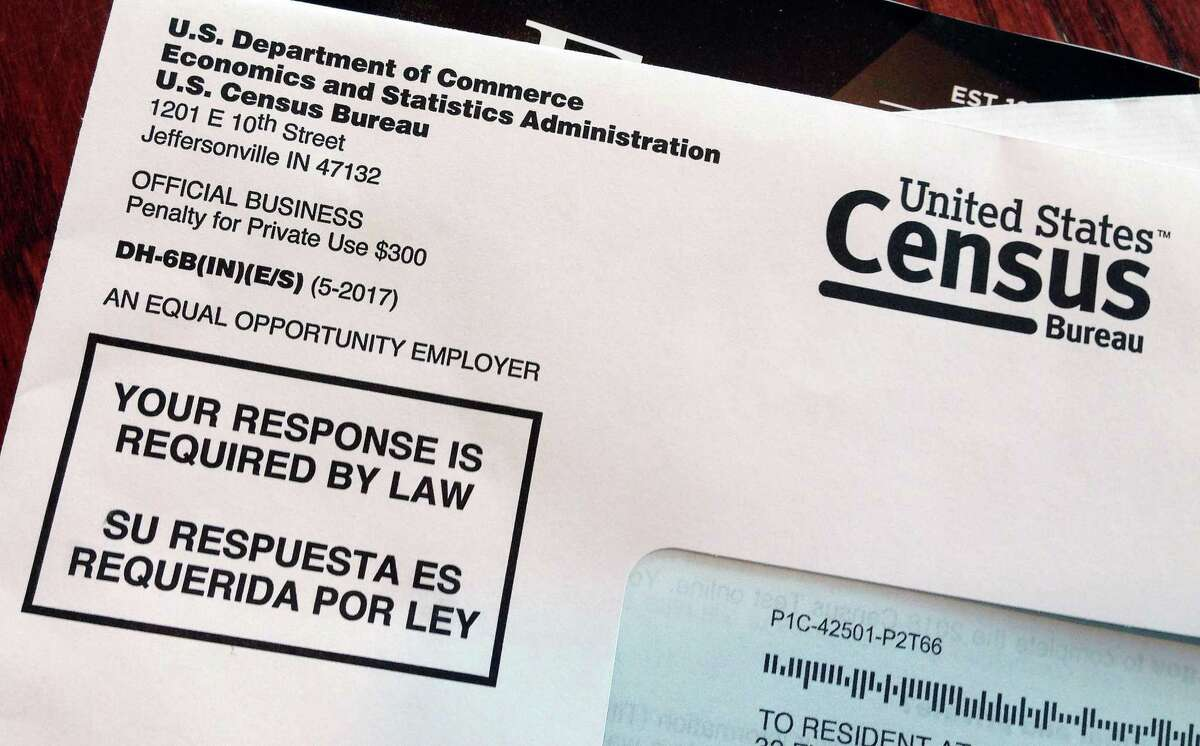 This March 23, 2018, file photo shows an envelope containing a 2018 census letter mailed to a U.S. resident as part of the nation's only test run of the 2020 Census. (AP Photo/Michelle R. Smith, File)