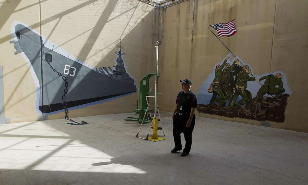 Recently competed murals inside the Montgomery County Jail's Pod 7 Veterans Program is seen, Wednesday, May 1, 20189, in Conroe. The pod includes wrap-around services and is centered on helping the veteran inmates assimilate back into civilian life.