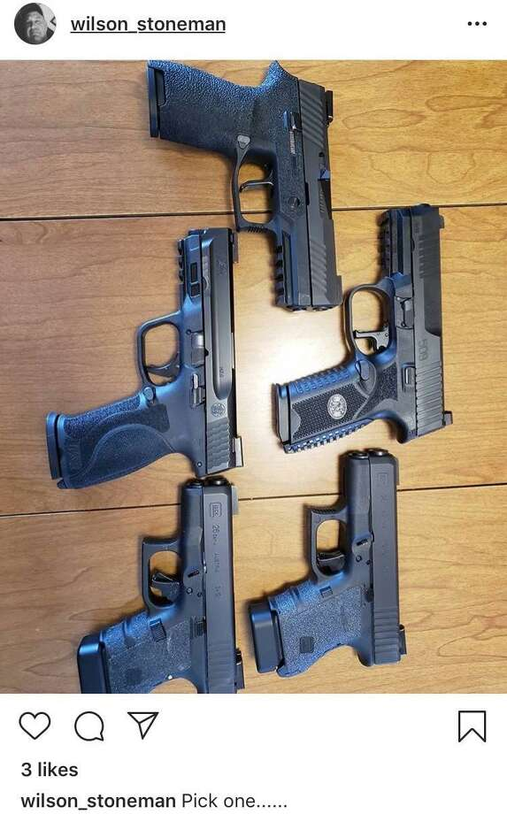 "An Instagram post from Jeffrey Wilson on Tuesday shows five handguns and is captioned: ""Pick one..."" Photo: Contributed Photo / Contributed Photo / Stamford Advocate contributed"