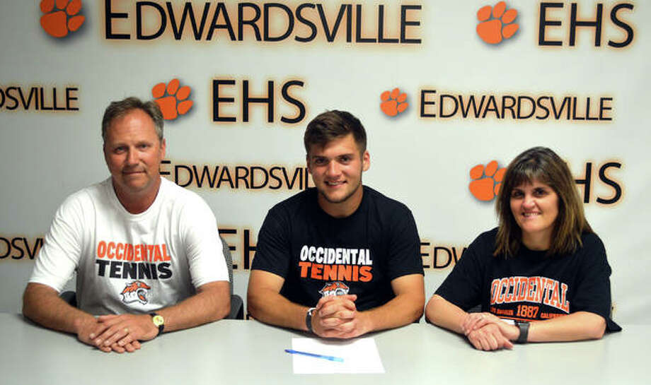 Edwardsville senior Seth Lipe, seated middle, will play tennis at Occidental University in Los Angeles. He is joined by his father, EHS tennis coach Dave Lipe, and mother Stacey Lipe. Photo: Scott Marion/The Intelligencer