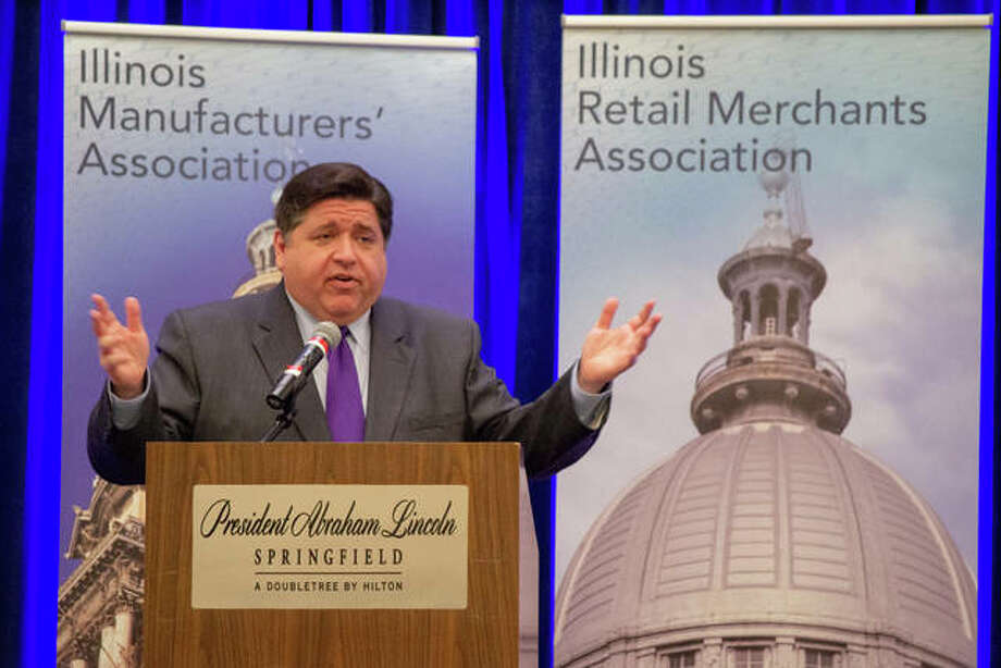 Gov. J.B. Pritzker speaks before a joint luncheon of the Illinois Retail Merchants Association and the Illinois Manufacturers' Association at the Abraham Lincoln Hotel in Springfield on Wednesday.