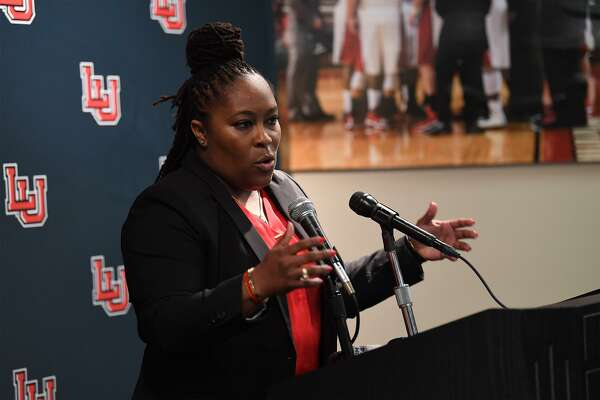 Aqua Franklin addresses the media and guests after being named Lamar's new women's basketball coach during a conference on Wednesday. Photo taken Wednesday, 5/1/19