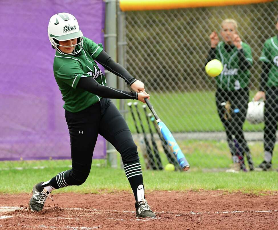 Shenendehowa's Sophia Caputo connects with the ball to get a triple during a softball game against Ballston Spa on Wednesday, May 1, 2019 in Ballston Spa, N.Y. (Lori Van Buren/Times Union)