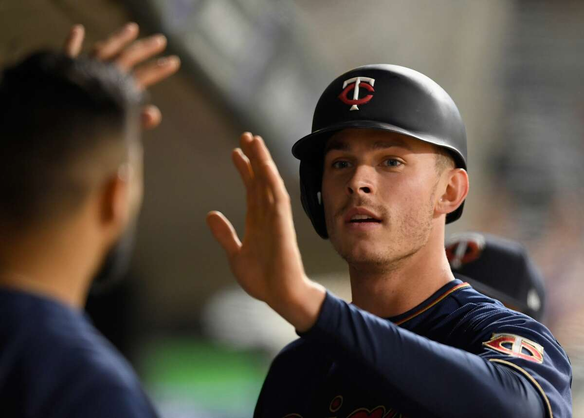 MINNEAPOLIS, MN - MAY 01: Max Kepler #26 of the Minnesota Twins celebrates scoring a run against the Houston Astros during the fifth inning of the game on May 1, 2019 at Target Field in Minneapolis, Minnesota. The Twins defeated the Astros 6-2. (Photo by Hannah Foslien/Getty Images)