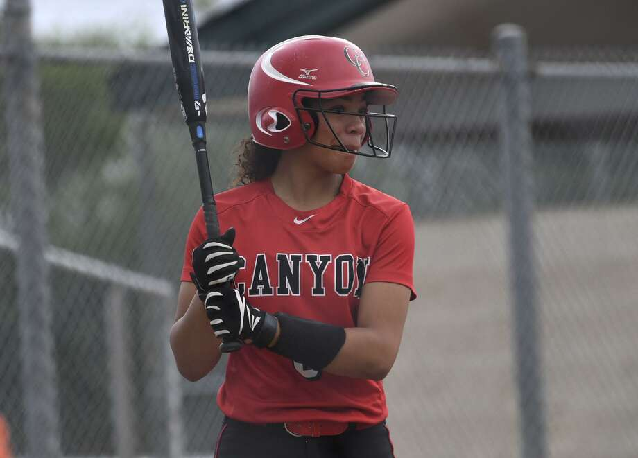Aliyah Pritchett of New Braunfels Canyon prepares to hit against MacArthur during Game 1 of the UIL Class 6A second-round high school softball playoff series on Wednesday May 1, 2019. Photo: Billy Calzada, Staff / Staff Photographer / San Antonio Express-News