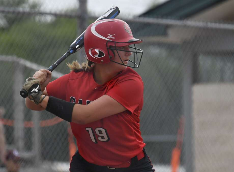 Hunter Vestal of of New Braunfels Canyon hits against MacArthur during Game 1 of the UIL Class 6A second-round high school softball playoff series on Wednesday May 1, 2019. Photo: Billy Calzada, Staff / Staff Photographer / San Antonio Express-News