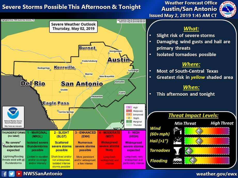 The National Weather Service expects strong storms to move into South Central Texas on Thursday. Photo: National Weather Service