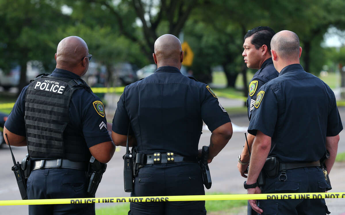 Houston Police investigate the scene where a man was fatally struck by a vehicle on the 7400 block of South Gessner Road Thursday, May 2, 2019, in Houston.