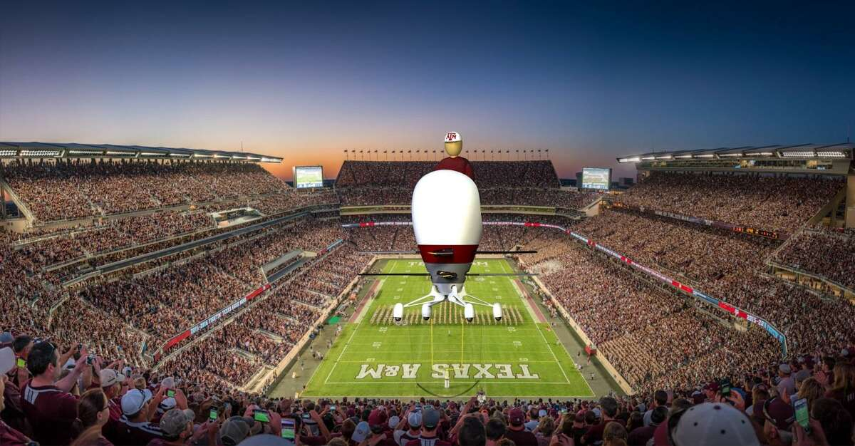An illustration of the Aria personal flying device above Kyle Field. The Aria is being created by a team of engineers at Texas A&M University. The team, called Texas A&M Harmony, is competing in the GoFly Prize competition.
