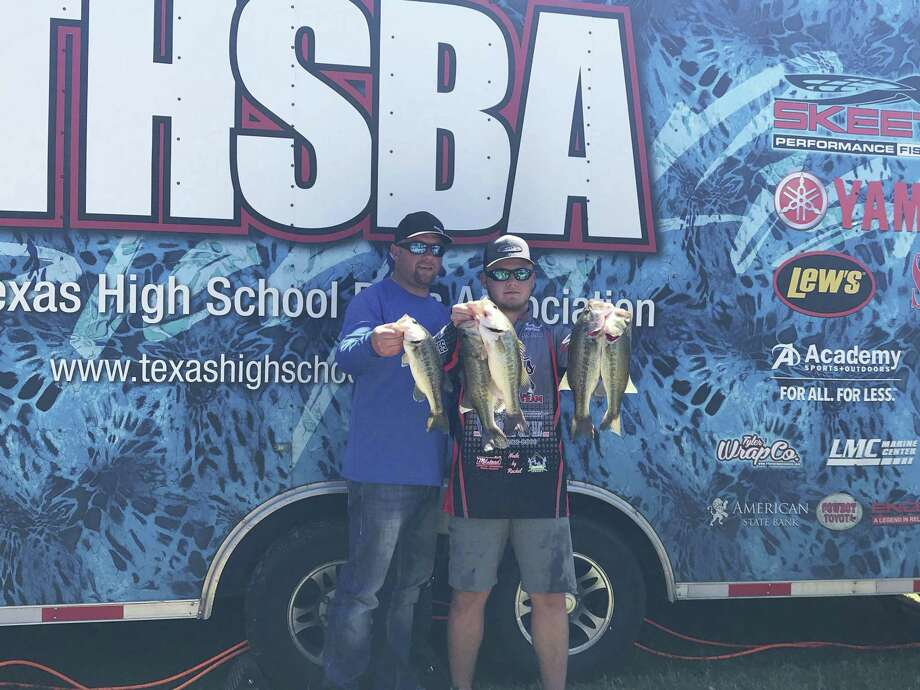 Joe and Connor Canada are pictured. Connor will be advancing to the Texas High School Bass Association State Tournament this weekend.
