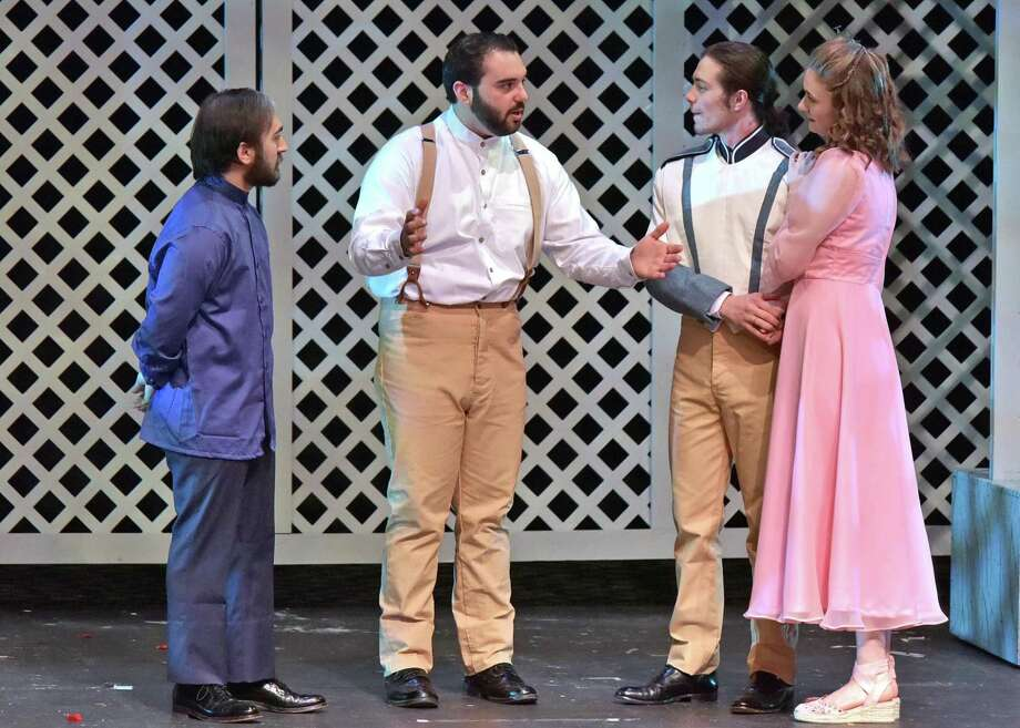 """""""Much Ado About Nothing"""" is onstage at Western Connecticut State University in Danbury. Rehearsing from left are Dante Cyr, of Waterbury; John Mudgett, of Danbury; Zachary Brown, of Jewett City; and Emma Giorgio, of Ridgefield. Photo: Peggy Stewart / Contributed Photo"""