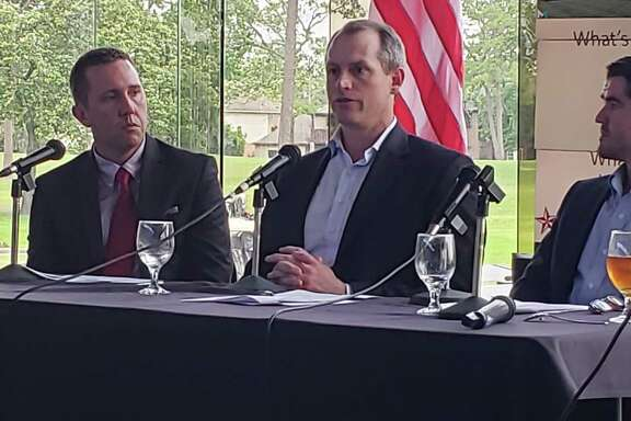 From left to right: Humble City Manager Jason Stuebe, McCord Development Sales and Leasing Director John Flournoy and McAlpine Interests Broker Adam McAlpine speak at the State of the Lake Houston luncheon on April 30, 2019.