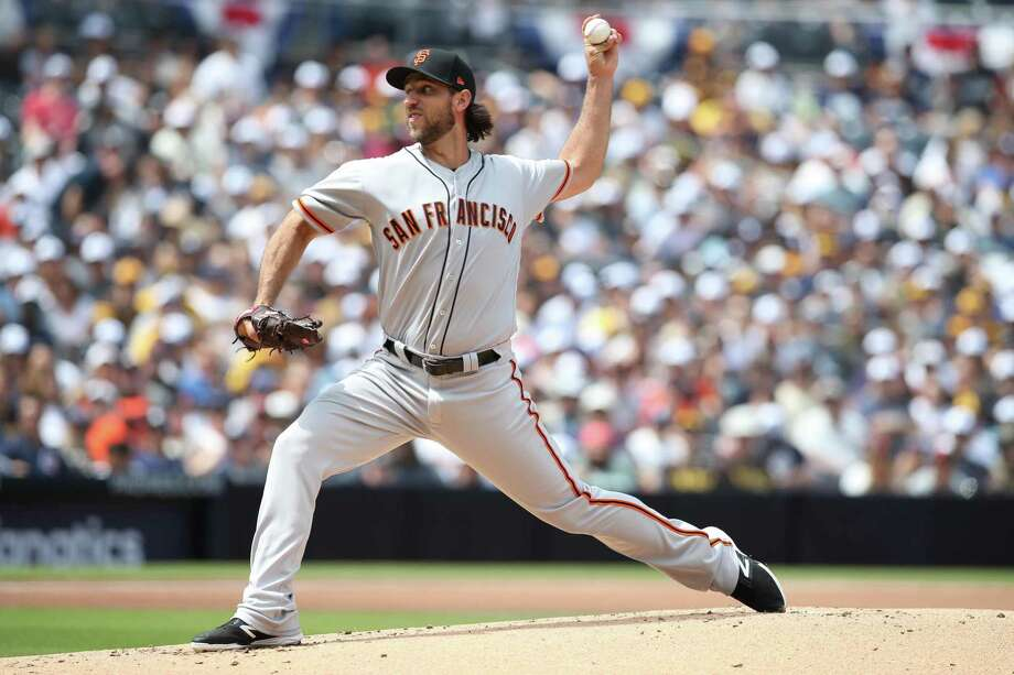The Gianst' Madison Bumgarner pitches against the San Diego Padres on Opening Day at Petco Park. Photo: Rob Leiter / MLB Photos / 2019 Major League Baseball Photos