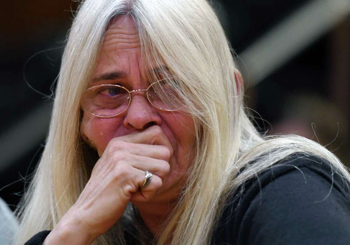 """Janet M. Steenburg breaks down in tears while trying to testify during the State Standing Committee on Transportation hearing on """"Limo and Bus Safety"""" on Thursday, May 2, 2019 at the Legislative Office Building in Albany, NY. Janet Steenburg is the mother of Axel and Rich Steenburg who were killed in the Schoharie Oct. 6 limo crash. (Phoebe Sheehan/Times Union)"""