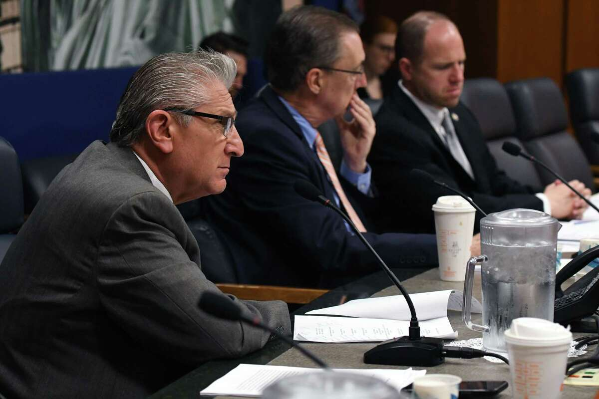 Senator James N. Tedisco listens during the State Standing Committee on Transportation hearing on