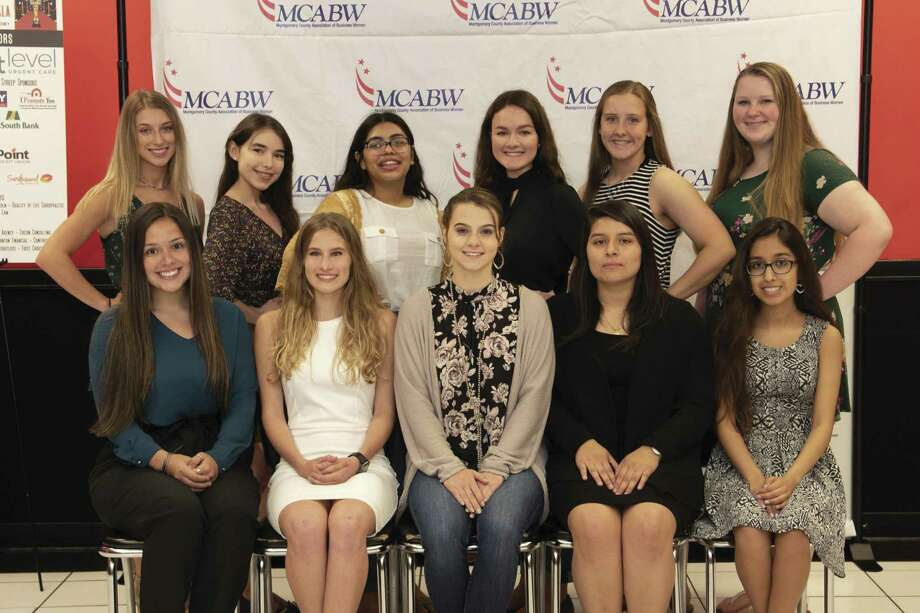 The Montgomery County Association of Business Women presented scholarships to 12 female high school seniors attending Montgomery County schools. Pictured top level, left to right are Savannah Stepp - Caney Creek High School, Breeanna Charanza - Caney Creek High School, Rashell Soria - Caney Creek High School, Andrea Day - Woodlands High School, Amanda Harrell - New Caney High School & Lilly Johnson - Willis High School. Lower level left to right are Noelia Lopez - Conroe High School, Shelby John - Magnolia West High School, Kayla Radliff - Willis High School, Judith Garcia - Caney Creek High School & Lelanie Castillo - Conroe High School.