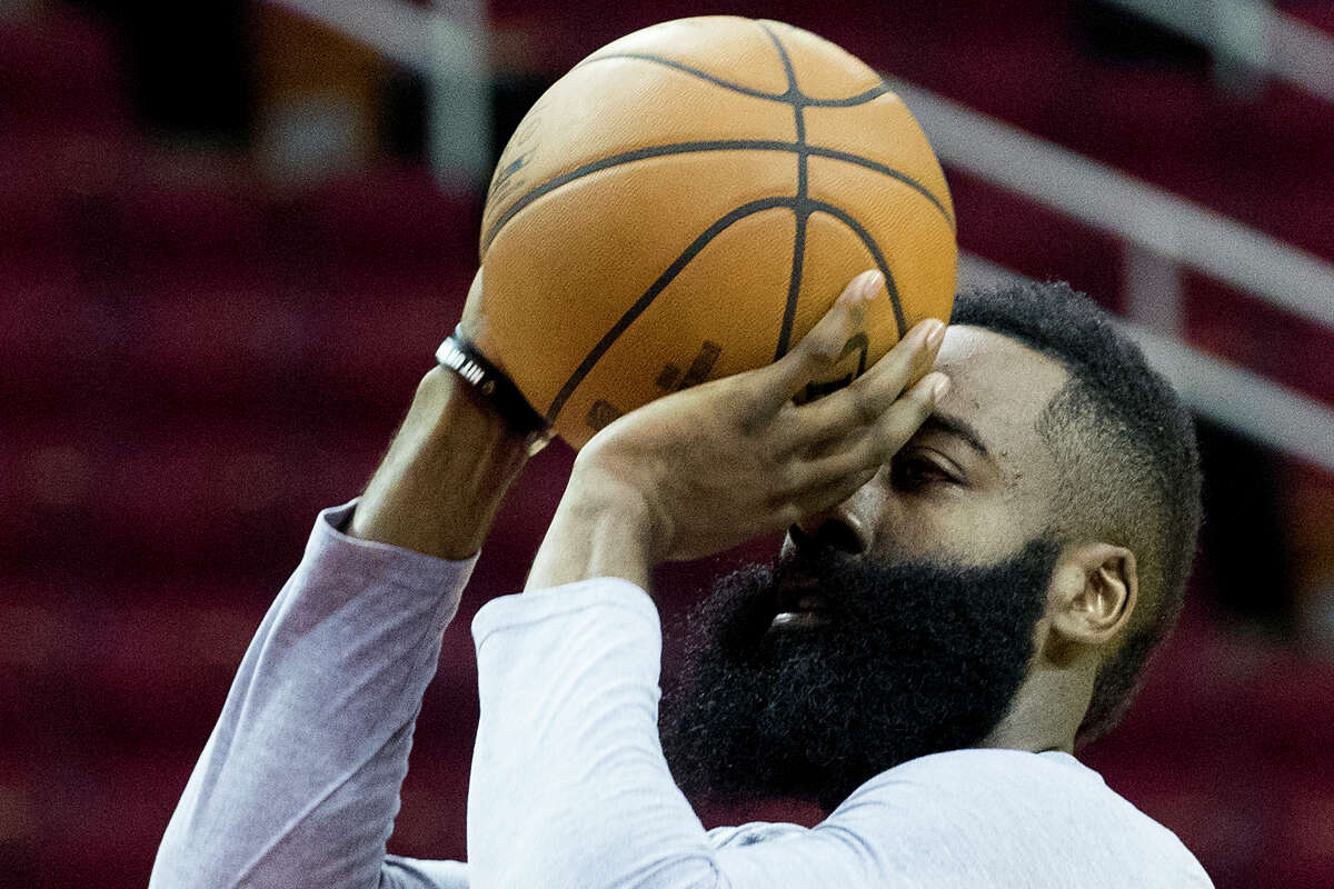 Houston Rockets guard James Harden shoots during Rockets practice at Toyota Center on Thursday, May 2, 2019, in Houston. The Rockets, down 0-2 in the NBA Western Conference semifinals, play the Golden State Warriors in Game 3 on Saturday.