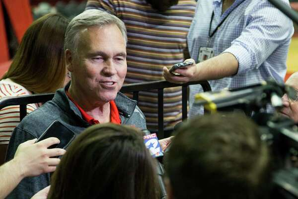 Houston Rockets head coach Mike D'Antoni speaks to the media during Rockets practice at Toyota Center on Thursday, May 2, 2019, in Houston. The Rockets, down 0-2 in the NBA Western Conference semifinals, play the Golden State Warriors in Game 3 on Saturday.
