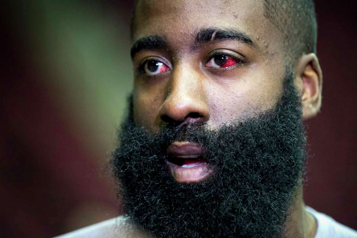 PHOTOS: More of James Harden's eye from Thursday's Rockets practice Houston Rockets guard James Harden speaks to the media during Rockets practice at Toyota Center on Thursday, May 2, 2019, in Houston. The Rockets, down 0-2 in the NBA Western Conference semifinals, play the Golden State Warriors in Game 3 on Saturday. Blood can still be seen in his injured left eye. >>>See photos from the Rockets' practice as they prepare to face the Warriors in Game 3 on Saturday ...