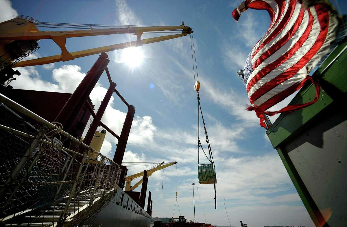Steel is unloaded in July 2015 at State Pier in New London, Conn. On May 2, 2019, the state of Connecticut announced it would foot half of a $70.5 million upgrade at the pier to transform it into a staging ground for wind turbines destined for the planned Bay State Wind offshore power plant by Eversource and Orsted.