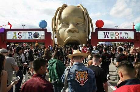 Astroworld Festival-goers entering the fairground at NRG Park.