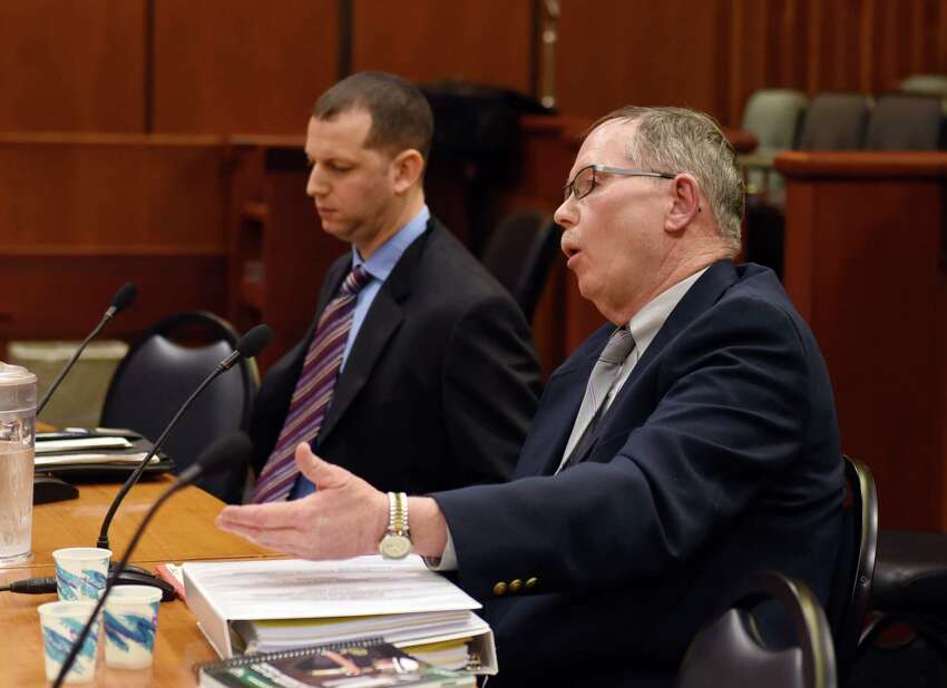 Retired Motor Vehicle Inspector Ronald Barton testifies during the state Senate's Standing Committee on Transportation hearing on limo and bus safety on Thursday, May 2, 2019 at the Legislative Office Building in Albany, NY. (Phoebe Sheehan/Times Union)