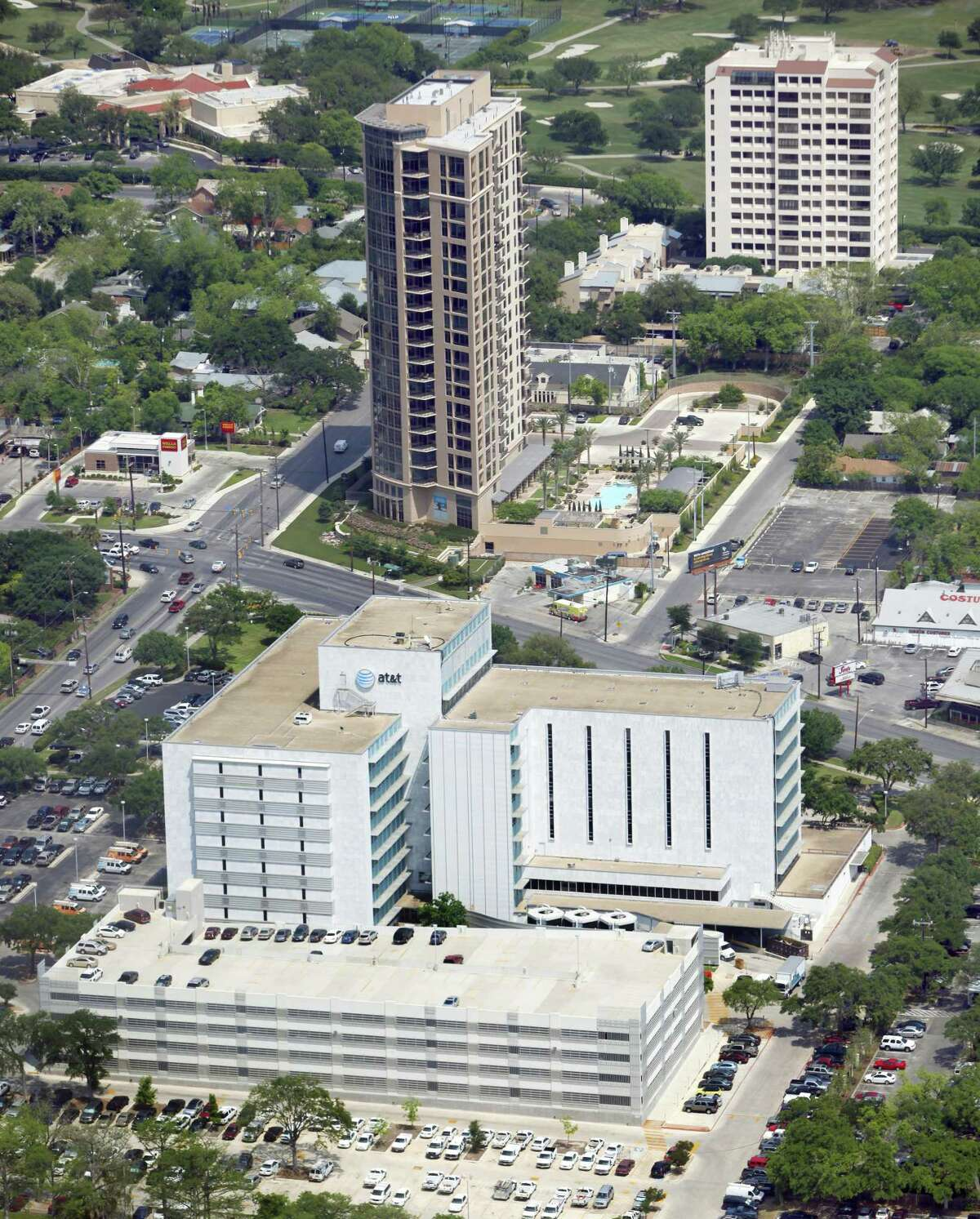 A regional office building, foreground, for AT&T is seen in this April 10, 2012 aerial photo. The Broadway Building building that was built at the site of the original Earl Abel's restaurant is seen behind that. The last building in the background is the Four Thousand One Condos building at 4001 N. New Braunfels. The AT&T building was originally built for USAA as the company's second headquarters. (William Luther/wluther@express-news.net