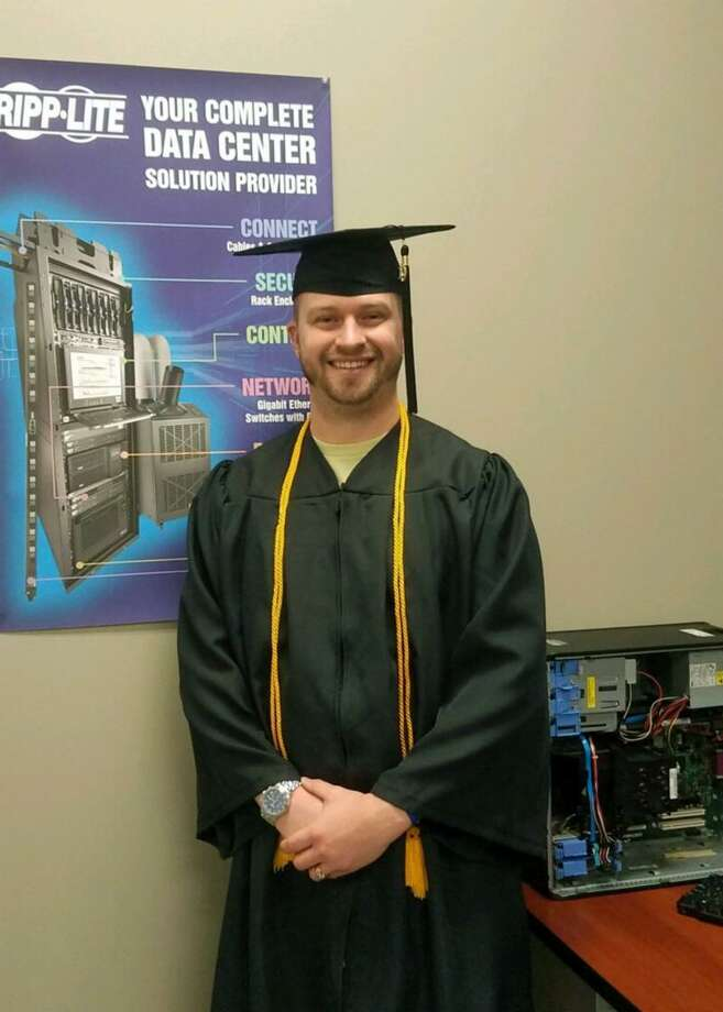 Brian Bradley graduated Thursday night as a Board of Regent graduate with a perfect 4.0 grade-point average and with an associate degree in Cyber Security Technology from TSTC in Fort Bend County. Photo: Texas State Technical College