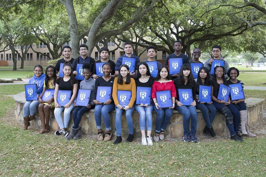 A new group of Realizing Our Academic Reward (ROAR) Academy students has been chosen and will now have the opportunity to earn up to 60 college credit hours at Wharton County Junior College while enrolled at Wharton High School. Front row, left to right, are Ariana Thompson, Janaesia Sanders, Shaylynn Longoria, Cherish Evans, Kateria Knight, Juliet Flores, Lucy Garcia, Litzy Martinez, Leilani Veazey, Evelyn Pereyra, Alaija Sanders and Bobbie Richards. Back row, left to right, are Seth Velasquez, Ali Pabani, Christian Avalos, Venicio Aguilar, Jazir Guajardo, Kameron Mitchell, Trayvion Levatino and Angel Riojas. Not pictured are Miguel Zarate, Isabell Vargas, Melanie Callejas, Jason Guzman and Zarion Jones. Photo: Courtesy Photo