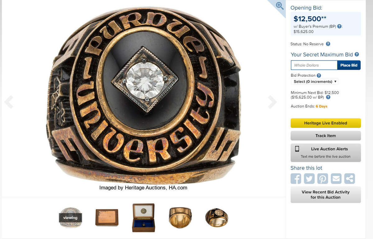 Neil Armstrong's Purdue class ring is up for auction. Opening bid: $12,500. Find more items for auction at the Heritage Auctions website. >>Neil Armstrong's secret bag of mementos from his trip to the moon.