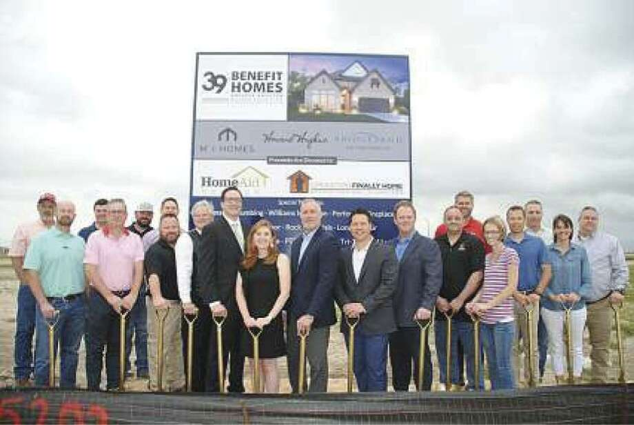 M/I Homes and the Howard Hughes Corporation break ground in Bridgeland for a GHBA Benefit Home that when sold, proceeds will be benefiting HomeAid Houston and Operation Finally Home. Pictured are the M/I Homes and Howard Hughes representatives and vendors who are donating their materials and services.