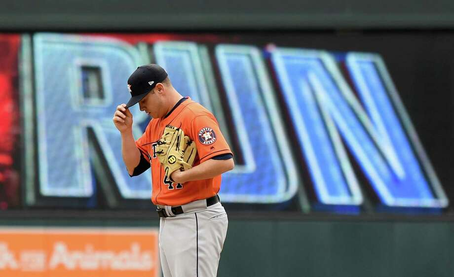MINNEAPOLIS, MN - MAY 02: Brad Peacock #41 of the Houston Astros reacts after giving up a solo home run to Jason Castro #15 of the Minnesota Twins during the third inning of the game on May 2, 2019 at Target Field in Minneapolis, Minnesota. The Twins defeated the Astros 8-2. Photo: Hannah Foslien, Getty Images / 2019 Getty Images
