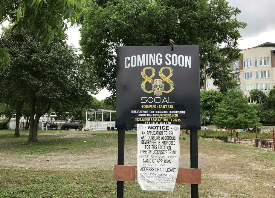 A new food truck park called 88 Social will open this summer at 1009 Ave. B along the Museum Reach of the River Walk, next to the VFW Post 76, in the background. Photo: Paul Stephen /Staff