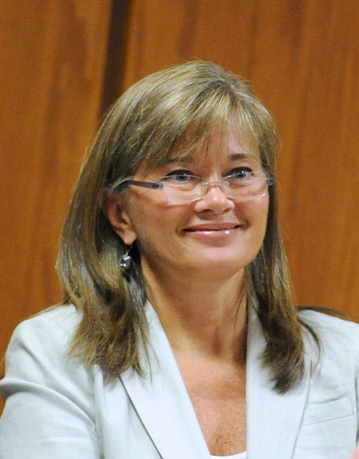 Kim Eves, director of communications for the Greenwich Public Schools, during the Greenwich Board of Education meeting at Greenwich Town Hall, Thursday night, Aug. 30, 2012.