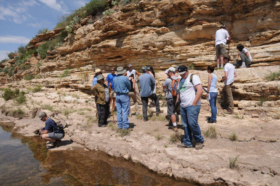 Members of SEPM annually take graduate students, those beginning their energy industry careers and other interested parties, on field trips to the Guadalupe Mountains to offer them practical, real-world, hands-on experience. The trip includes exercises designed to get the multiple disciplines – engineering, geology and land – to work as one team.  Photo: Courtesy Of SEPM