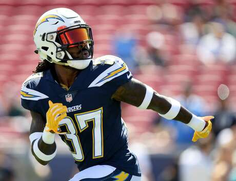 LOS ANGELES, CA - SEPTEMBER 23:  Jahleel Addae #37 of the Los Angeles Chargers warms up before the game against the Los Angeles Rams at Los Angeles Memorial Coliseum on September 23, 2018 in Los Angeles, California.  (Photo by Harry How/Getty Images)