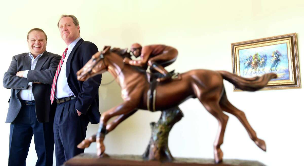 (Racehorse owners Ralph Durante, left, and John Buckley, both of North Haven.