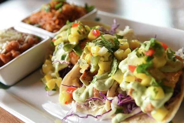 Mahi Mahi tacos - grilled mahi mahi, mango salsa, shredded cabbage, avocado crema, cilantro at Cantina on Tuesday, April 23, 2019 in Saratoga Springs, N.Y. (Lori Van Buren/Times Union)
