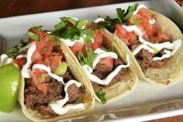 Carne asada tacos - lime garlic marinated steak, avocado-tomatillo salsa, crema, pico de gallo at Cantina on Tuesday, April 23, 2019 in Saratoga Springs, N.Y. (Lori Van Buren/Times Union)