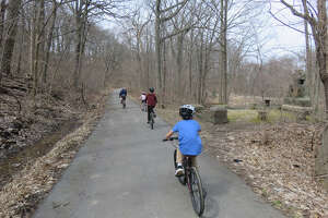 Young cyclists on the bike trail through Vale Park in Schenectady. (Herb Terns / Times Union)