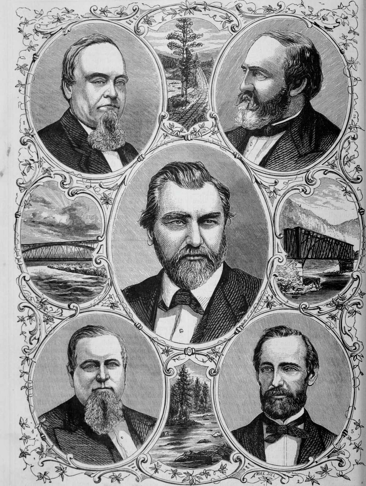 """Engraved portraits of the representative men of the Central Pacific railroad, Edwin B. Crocker, Collis Potter Huntington, Leland Stanford, Charles Crocker, and Mark Hopkins, from the book """"The Pacific tourist"""", 1877. Courtesy Internet Archive."""