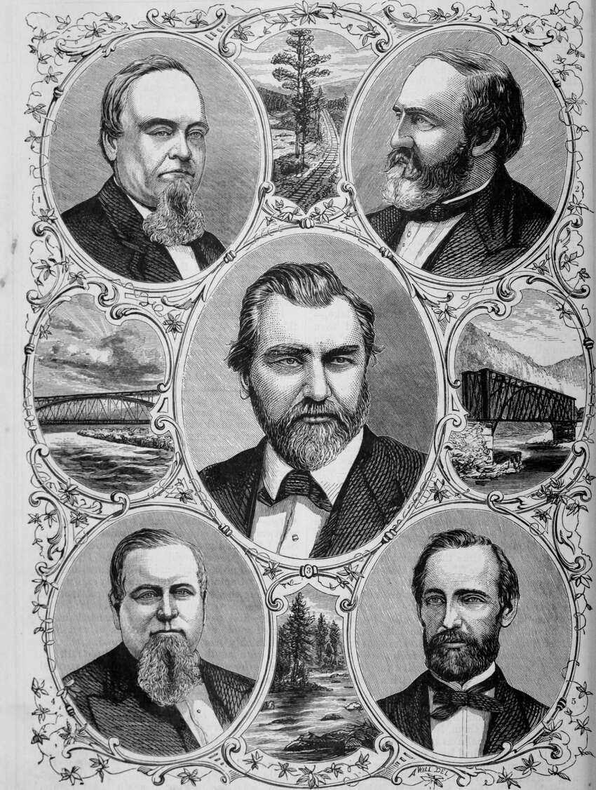 Engraved portraits of the representative men of the Central Pacific railroad, Edwin B. Crocker, Collis Potter Huntington, Leland Stanford, Charles Crocker, and Mark Hopkins, from the book