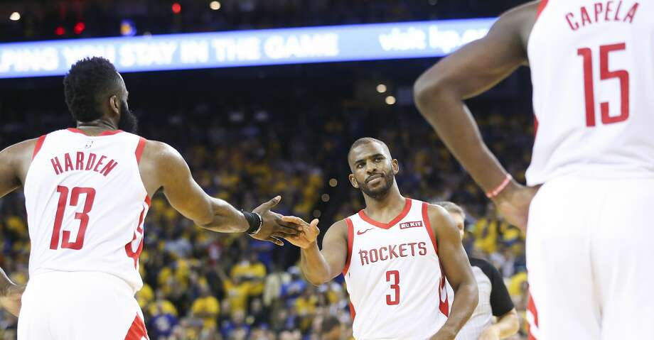 PHOTOS: Rockets game-by-game Houston Rockets guard Chris Paul (3) slaps hands with teammate James Harden (13) as he looks Clint Capela (15) after Cappela fouled out in game 2 of the NBA Western Conference Semifinals against Golden State Warriors on Tuesday, April 30, 2019 at Oracle Arena. Golden State Warriors won the game 115-109. Browse through the photos to see how the Rockets fared in each game this season. Photo: Elizabeth Conley/Staff Photographer
