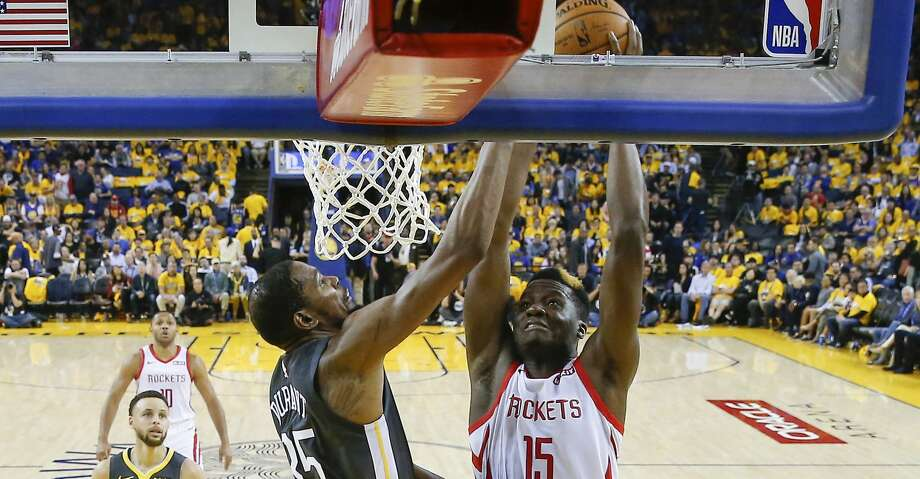 PHOTOS: Rockets game-by-game Houston Rockets center Clint Capela (15) drives to the basket against Golden State Warriors forward Kevin Durant (35) in the second half of the NBA Western Conference Semifinals on Tuesday, April 30, 2019 at Oracle Arena. Golden State Warriors won the game 115-109. Browse through the photos to see how the Rockets have fared in each game this season. Photo: Elizabeth Conley/Staff Photographer