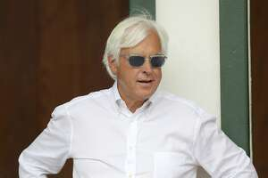 Trainer Bob Baffert is seen in the Churchill Downs paddock Wednesday, May 1, 2019, in Louisville, Ky. Baffert will be saddling 3 runners in the 145th running of the Kentucky Derby is scheduled for Saturday, May 4. (AP Photo/Gregory Payan)